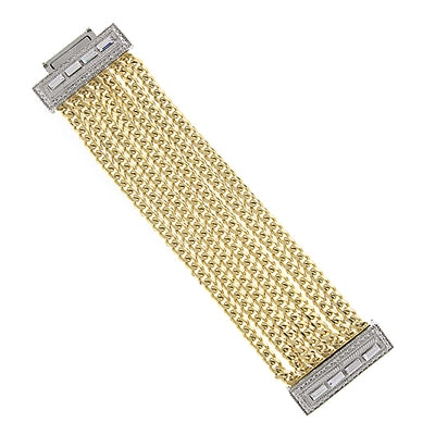 Gold-Tone Crystal Triple Row Chain Magnetic Clasp Bracelet