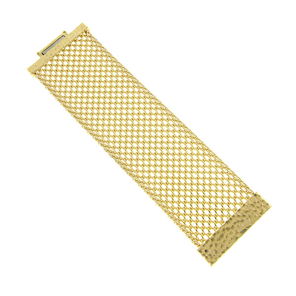 Gold-Tone Wide Mesh Magnetic Bracelet