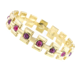 1928 Jewelry: Alex Nicole - 14K Gold Dipped Amethyst Color and Fuchsia Bracelet