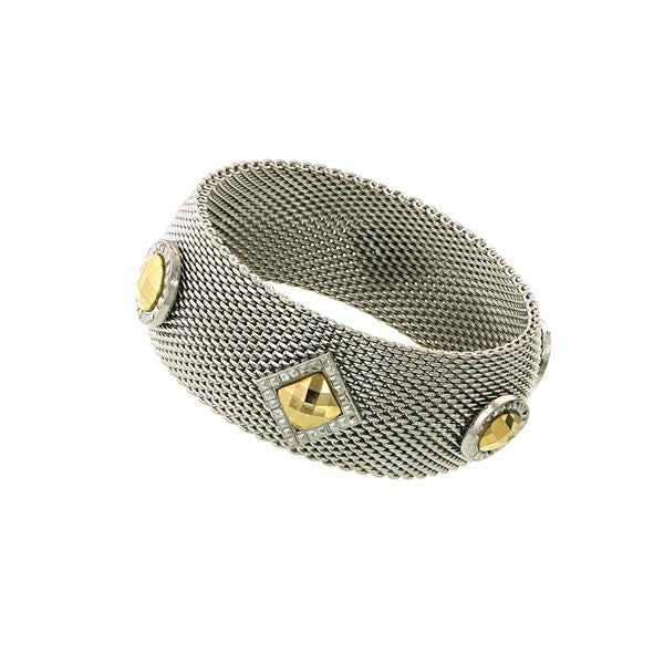 14K Gold Dipped Two Tone Mesh Bracelet