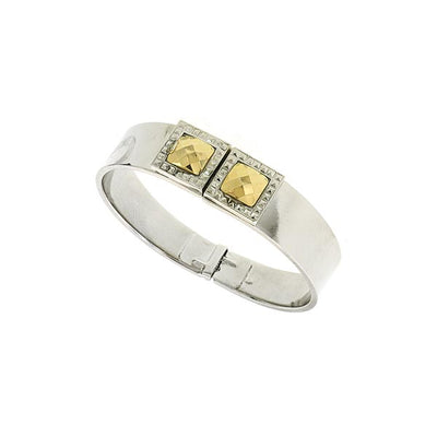 Silver Tone And Gold Tone Stone Square Small Hinged Bracelet
