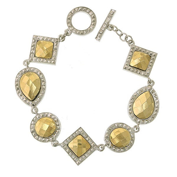Silver-Tone and Gold-Tone Stone Multi Stone Toggle Bracelet