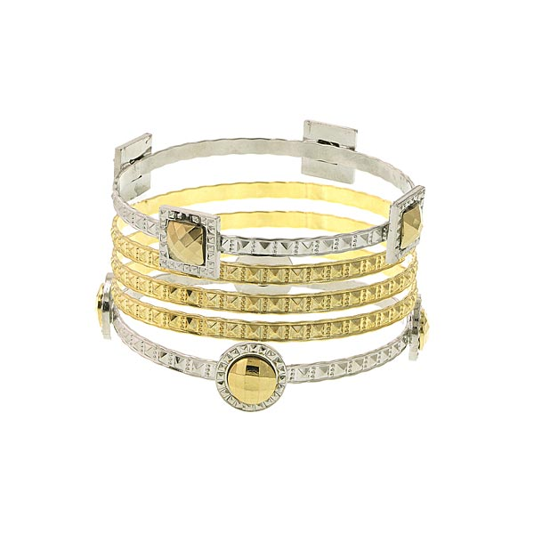5 Pc Set 3 Gold Tone And 2 Silver Tone Bangles
