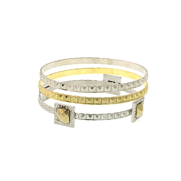 Gold Tone And Silver Tone 3 Pc Bangle Set