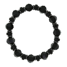 Black-Tone Black Beaded Stretch Bracelet