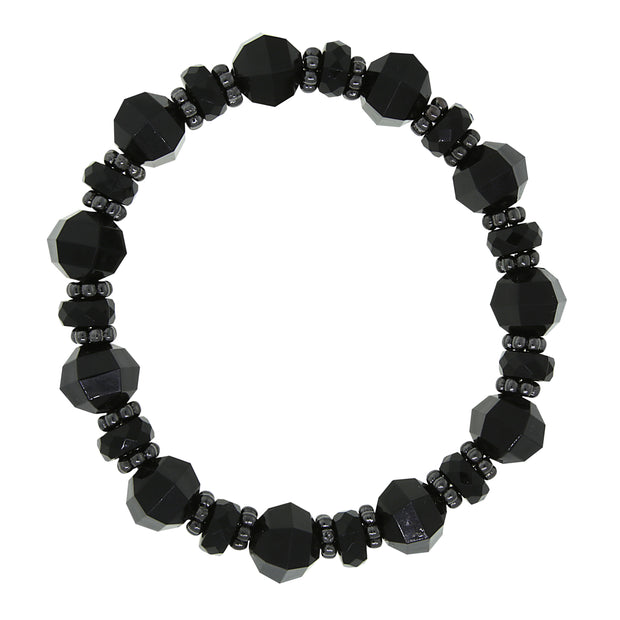 Black Tone Black Beaded Stretch Bracelet