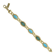 Gold-Tone Green And Turquoise Color Marquise Link Bracelet