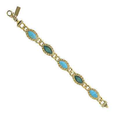 Gold Tone Green And Turquoise Color Marquise Link Bracelet