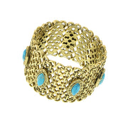 Gold-Tone Turquoise Color Wide Mesh Bracelet