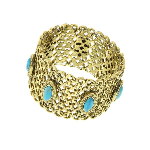 Gold Tone Turquoise Color Wide Mesh Bracelet