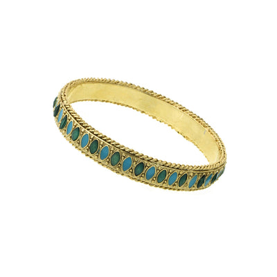 Gold Tone Green And Turquoise Color Marquise Bangle Bracelet