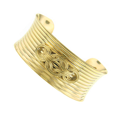 Gold-Tone Ornate Cuff Bracelet