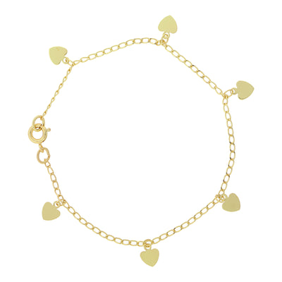 14K Gold-Dipped Heart Charm Bracelet