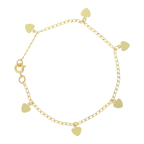 Fashion Jewelry - 14K Gold-Dipped Heart Charm Bracelet