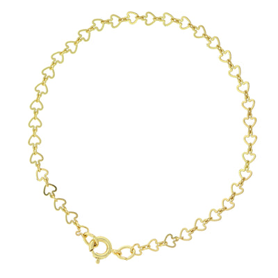 14K Gold Dipped Heart Chain Bracelet