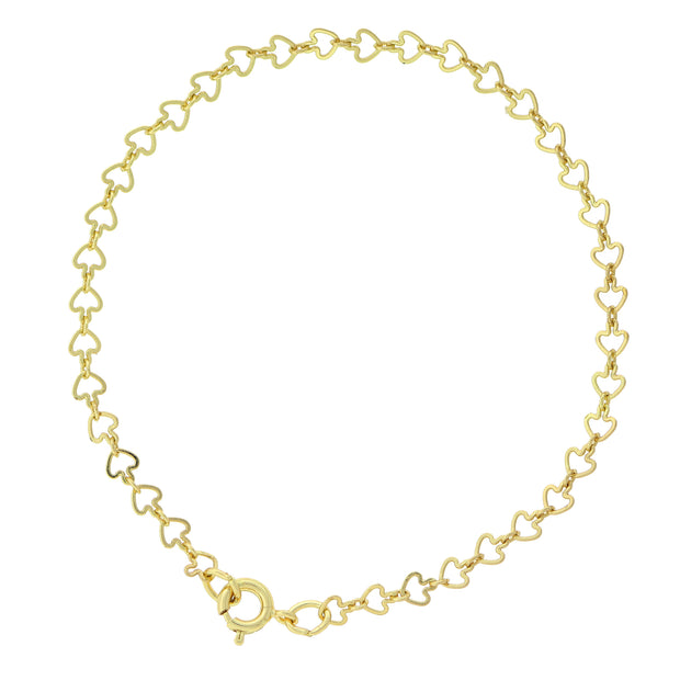 14K Gold-Dipped Heart Chain Bracelet