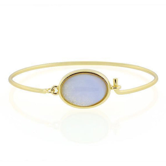 14K Gold-Dipped Semi-Precious Blue Lace Wire Bracelet