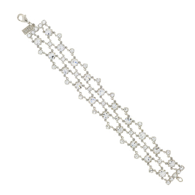 1928 Jewelry Silver-Tone Genuine Swarovski Crystal Element Bracelet