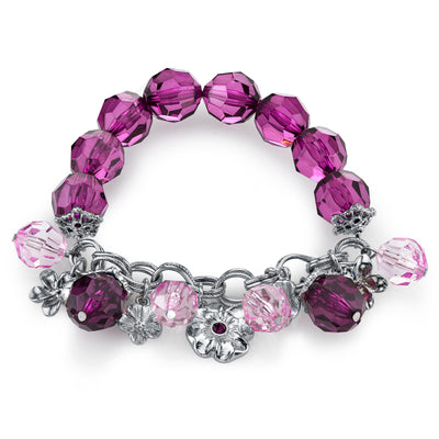 Silver Tone Purple Beaded Charm Stretch Bracelet