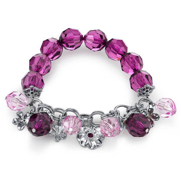 Silver-Tone Purple Beaded Charm Stretch Bracelet