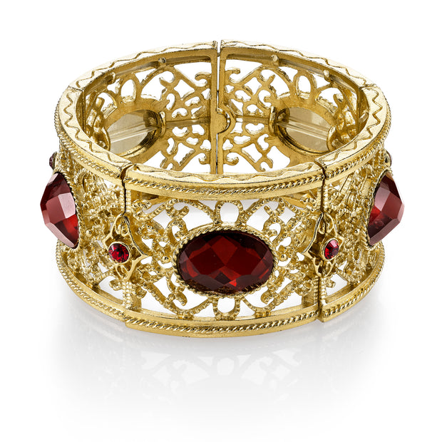 Gold Tone Red Faceted Oval Filigree Stretch Bracelet