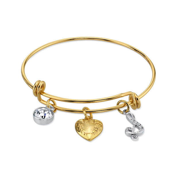 1928 Jewelry 14K Gold-Dipped Heart And Initial Crystal Charm Bracelet