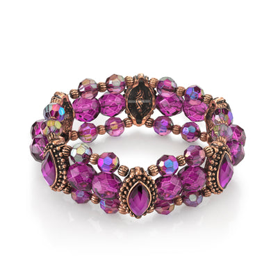 Burnished Copper Tone Amethyst Purple Color And Ab Beaded Stretch Bracelet