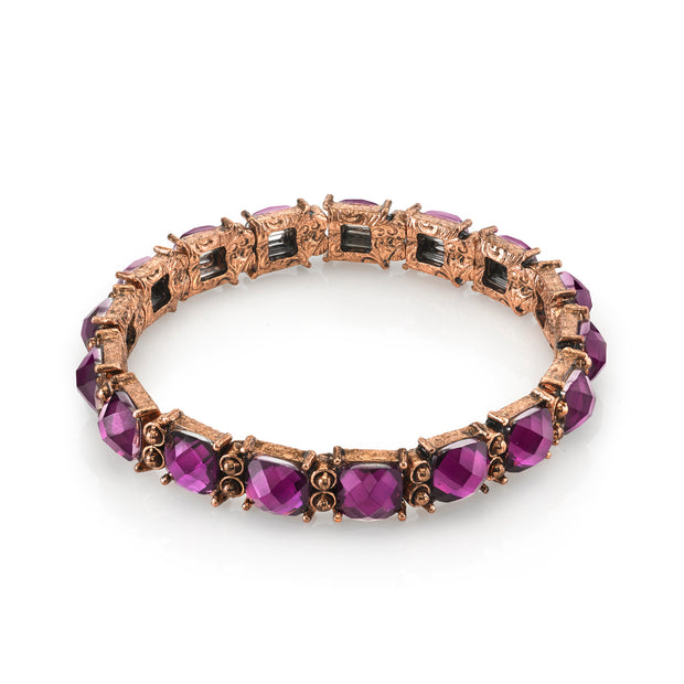 Copper Tone Purple Stretch Bracelet