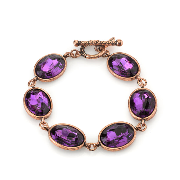 Burnished Copper Tone Amethyst Purple Color Faceted Oval Toggle Bracelet