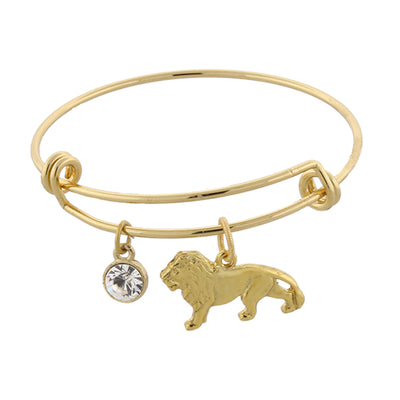 14K Gold-Dipped Cecil The Lion And Crystal Expandable Wire Bracelet