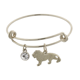 1928 Jewelry: 1928 Jewelry - Silver-Tone Cecil the Lion and Crystal Expandable Wire Bracelet