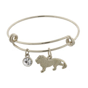 14K Gold Dipped Cecil The Lion And Crystal Expandable Wire Bracelet