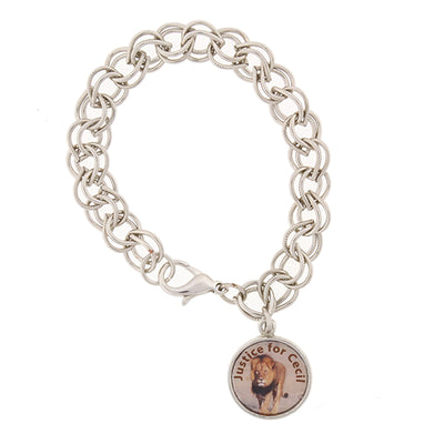 Silver Tone Justice For Cecil The Lion Charm Bracelet