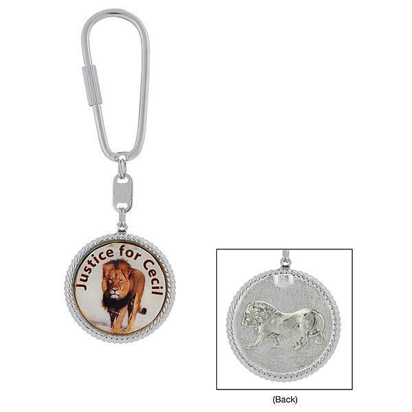 Silver-Tone Justice For Cecil The Lion Key Fob