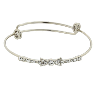 Silver Tone Clear Crystal Wire Bangle Bracelet