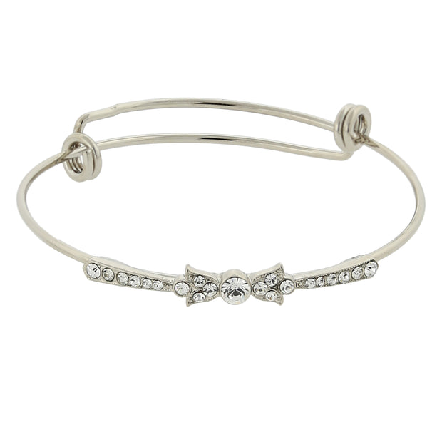 Silver-Tone Clear Crystal Wire Bangle Bracelet