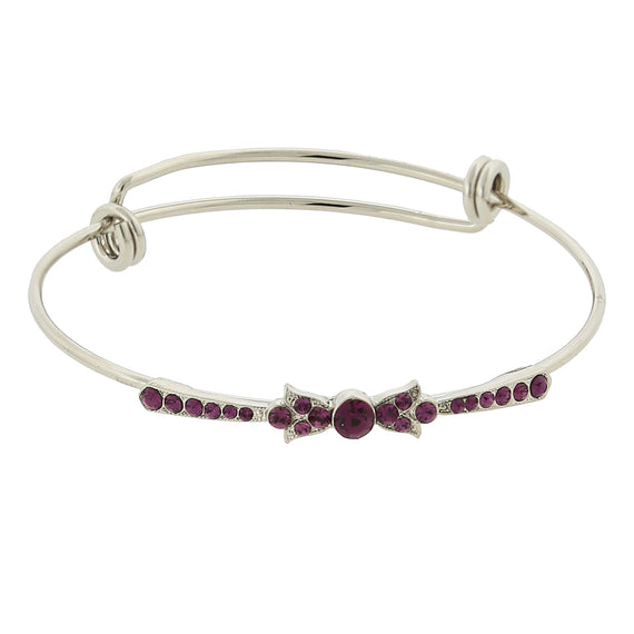 Silver Tone Amethyst Color Crystal Bow Wire Bangle Bracelet