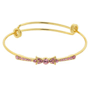 Gold-Tone Rose Pink Crystal Wire Bangle Bracelet