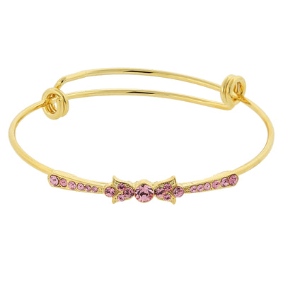 Gold Tone Rose Crystal Wire Bangle Bracelet