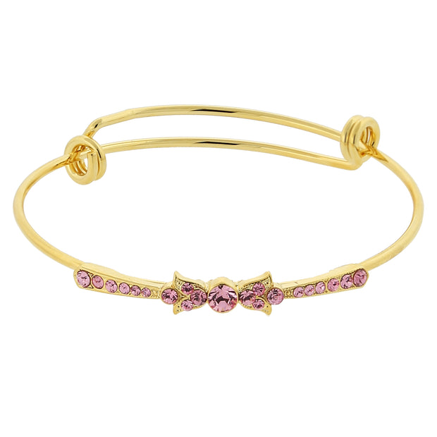 Gold-Tone Rose Crystal Wire Bangle Bracelet