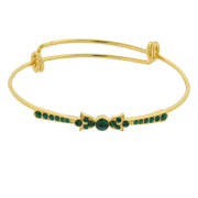 Gold Tone Crystal Wire Bangle Bracelet Green