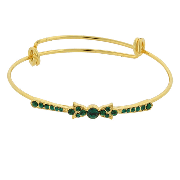 Gold Tone Crystal Wire Bangle Bracelet