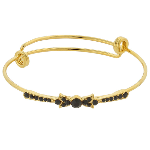 Gold Tone Crystal Wire Bangle Bracelet BLACK