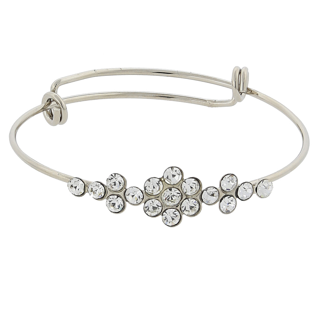 Silver-Tone Crystal Flower Wire Bangle Bracelet
