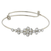 Silver Tone Clear Crystal Flower Wire Bangle Bracelet
