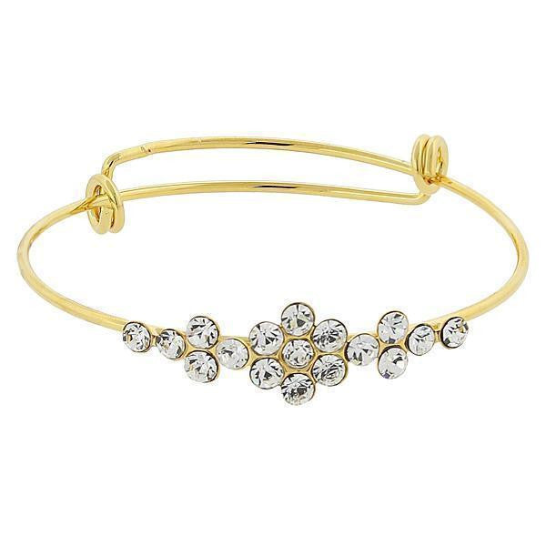 Gold Tone Crystal Flower Wire Bangle Bracelet Crystal Clear
