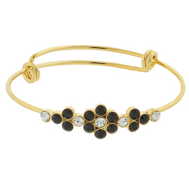 Gold-Tone Black and Crystal Accent Flower Wire Bangle Bracelet