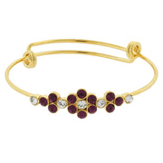 Gold Tone Crystal Flower Wire Bangle Bracelet Red