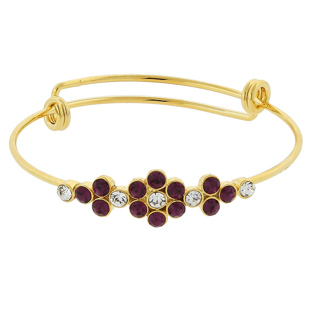 Gold-Tone Crystal Flower Wire Bangle Bracelet Red