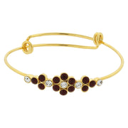 Gold Tone Crystal Flower Wire Bangle Bracelet